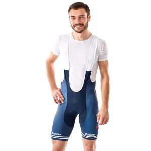 Calza Corta Ciclismo Hombre Trek Bib Santini Trek-Segafredo Réplica Azul Oscuro