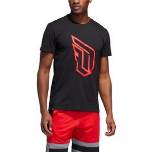 Polera Básquetbol Hombre Adidas Dame Logo Tee Negra/Roja