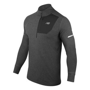 Polerón Running Hombre New Balance Quarter Zip Pocket Negro