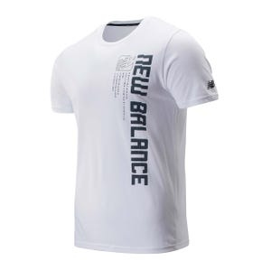 Polera Hombre New Balance Graphic Heathertech Blanco