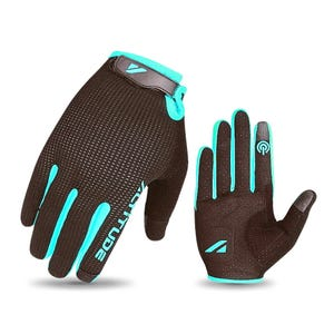 Guante Ciclismo Mujer Altitude Long Finger Touch Negro/Turquesa
