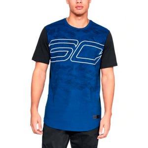 Polera Básquetbol Hombre Under Armour SC30 Big Logo Azul/Negra