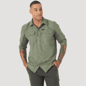 Camisa Outdoor Hombre ATG by Wrangler Mixed Materials Verde