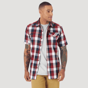 Camisa Outdoor Hombre ATG by Wrangler SS ASYM ZIP PKT Roja