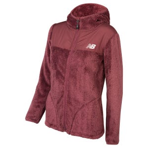 Polerón Polar Outdoor Mujer New Balance Full Zip Burdeo